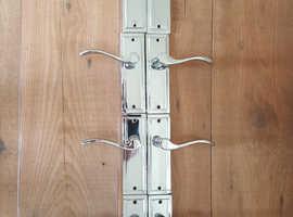 12 x Door Handles Victorian Chrome Scroll Lever Latch Handle (6 Pairs)