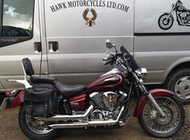 FANTASTIC 2002 YAMAHA XVS250 DRAGSTAR, 22775 MILES, TURN OUT EXHAUSTS, SCREEN, BAGS.