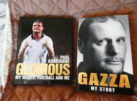 GAZZA; PAUL GASCOIGNE AUTOBIOGRAPHY HARDBACK COVER BOOKS x 2