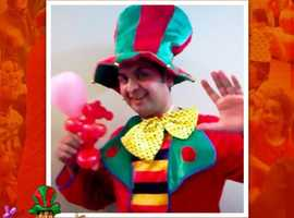 Birthday party hire Childrens CLOWN Kids Entertainer MASCOT MAGICIAN balloon modeller Face painter Bubbles London hire