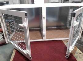 Aluminum cage for dogs. Gold Secure Safety Equipment. Color-white For 2 dogs.