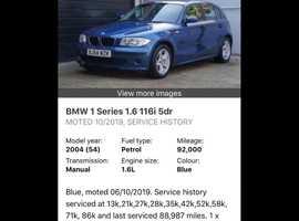BMW 1 series, 2004 (54) Blue Hatchback, Manual Petrol, 94,000 miles