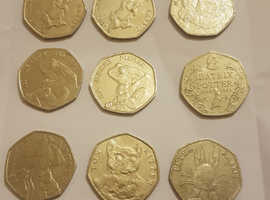 Collection of 50p coins, beatrix potter,Paddington