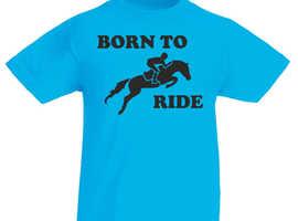 Boys Girls Kids Born To Ride T Shirt Tee Horses Horse Riding Jumping Pony