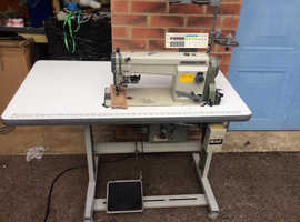 Mitsubishi Industrial Roller Feed Sewing Machine with Thread Trimmer, bar tack and automatic foot lifter