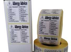 Food Allergy Labels, Food Labels 36mm x 36mm 1000 On A Roll