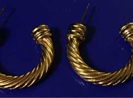 Ladies Jewellery Rolled Gold Hoop Earrings 16.1g 4mm.