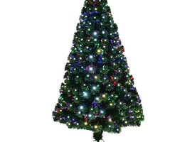 COSTWAY Christmas Tree Fibre Optic Color Changing LED Lights Xmas Star 6FT (CM20600)