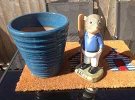 Quality - 1 blue heavy planter - 1 ratty ornament