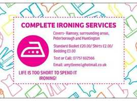 Ironing services available now! Based in Ramsey Cambridgeshire
