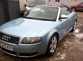Audi A4, 2003 (53) Blue Convertible, Cvt Petrol, 108,000 miles Automatic