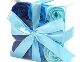 9 SOAP FLOWERS - BLUE WEDDING