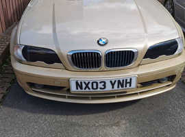 BMW 3 Series, 2003 (03) Gold Coupe, Manual Petrol, 85k miles NO MOT HENCE PRICE