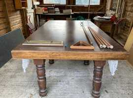 Pool table doubling as dining table