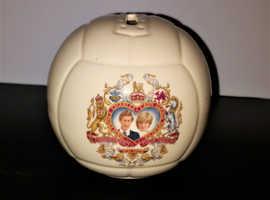 RARE 1981 Royal Wedding Porcelain Football Coin Bank Charles & Diana