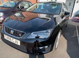 Seat Leon, 2016 (66) Black Hatchback, Manual Petrol, 31,000 miles