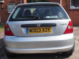 Honda Civic, 2003 (03) Silver Hatchback, Manual Petrol, 61,800 miles