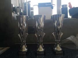 3 x 29cm high unused brand new Trophies