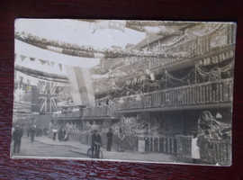 1911 CORONATION DECORATED STREET SCENE REAL PHOTO UNPOSTED