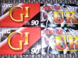 4 x Cassette Tapes - JVC & Maxell