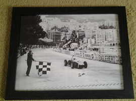 Stirling Moss autographed picture 1956 Monaco GP