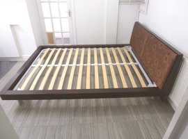 KING SIZE LOW SOLID WOODEN BED FRAME WITH UPHOLSTERED FLORAL HEADBOARD