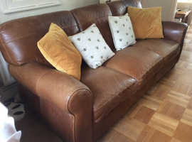 FREE TO COLLECTOR *****Sofa 3 seater Soft brown leather *****CHIPPENHAM WILTSHIRE