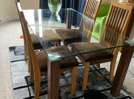 Glass dining table &chairs