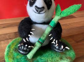 Super cute Needle felted Panda Bear with bamboo on a base/ sculpture/ornament/Animal/Felt/Bear/Panda/