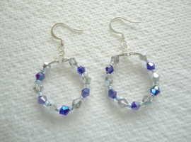 Handmade Blue & Silver/Clear Glass Bead Hoop Earrings with S.P. Hook Ear-Wires.