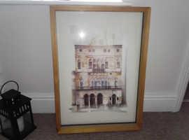 Building print in frame.