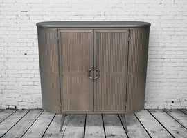 Industrial retro metal ribbed storage cabinet