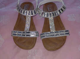 White diamonte sandals size 4