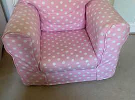 Children's pink spotty armchair from Next