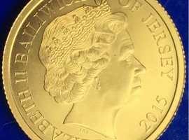 Queen Elizabeth II 9ct Gold Magna Carter Commemorative Gold Penny Coin 2015.