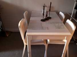 PRICE REDUCED White Dining Table & 4 Chairs