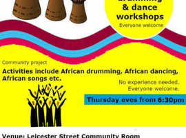 Free African drumming, dance and singing sessions