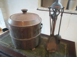 old coal bucket and companion set COPPER EFFECT Cambs