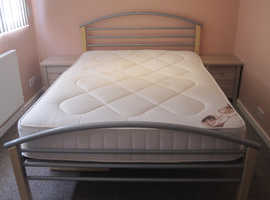 Excellent condition double bed, mattress and 2 matching bedside tables