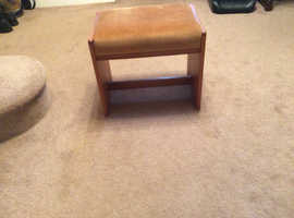 William Lawrence Teak stool with gold dralon fabric