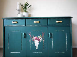 Mid Century Modern Solid Wood Green and Gold Vintage Sideboard
