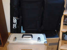 Full PA system: QSC K8s, The Box Pro Achat 112 sub A, Soundcraft EFX8 mixer, tote bags, stands/pole