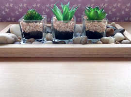 NOW REDUCED!!! ARTIFICIAL MINI CACTI X 3 WITH STONES AND GEMS
