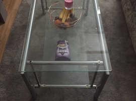 Grey glass coffee table