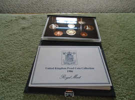 1986 royal mints standard proof set of 8 coins with certificate