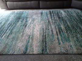 Abstract teal/grey rug 120 x 170 cm