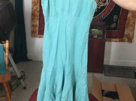 Women's turquoise linen dress, Lands End - wedding, bridesmaid