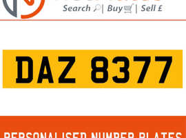 DAZ 8377 NETPLATES PERSONALISED PRIVATE CHERISHED DVLA NUMBER PLATE ON A 10 YEAR CERTIFICATE REG