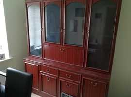 Large display unit with lighting and cupboard space below.
