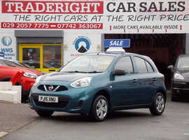 2015/15 Nissan Micra 1.2 Visia finished in Turquoise Blue Metallic., 42,626 miles